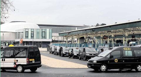 LEGAL BATTLE: Taxis on the rank at Newport train station