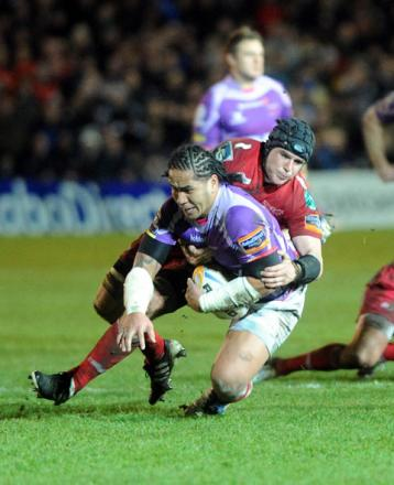 GO-TO GUY: The Dragons will be looking for inspiration from centre Andy Tuilagi, here playing against the Scarlets when the Gwent region lost 10-6 the last time the two met