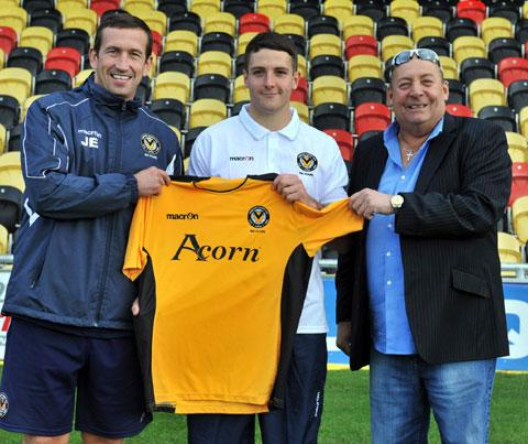 SPLASH THE CASH, NOT US! Newport County manager Justin Edinburgh, left, with new signing Conor Washington, the first player for whom he has paid a transfer fee. But the Exiles are certainly not splashing the cash, says the boss