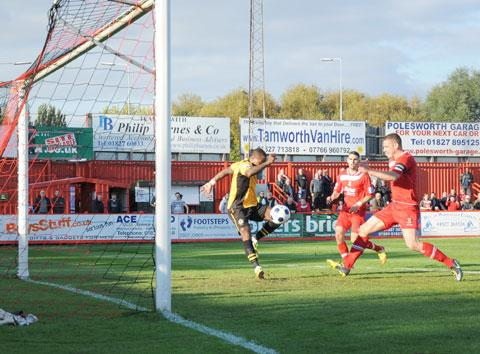 WINNER: Newport County's Aaron O'Connor about to score Saturday's decisive goal before going off injured. Picture: SAM SHINGLER