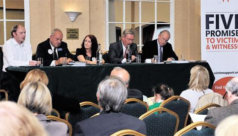 DEBATE: Police and crime commissioner candidates at the hustings at The Parkway Hotel, Cwmbran last night organised by Victim Support. Candidates from left, Nick Webb, Chris Wright, Ian Johnston and Hamish Sandison with Mandy Wilmot of Victim Support