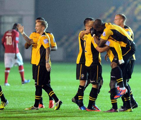 YAKETY YAK: County players celebrate after Ismail Yakubu's first half goal