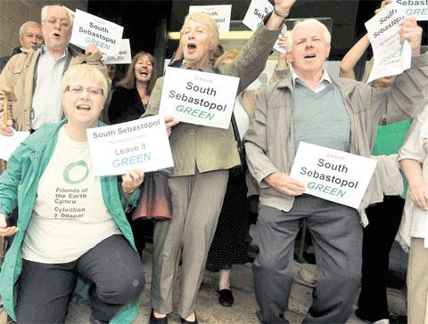 CAMPAIGN: Residents and Friends of the Earth protest outside County Hall last year against the proposed development of 1,200 houses in south Sebastopol