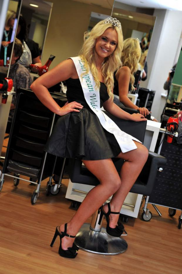 BEAUTY QUEEN: Hairdressing student Emily Morgan is competing in the week-long Miss European beauty pageant in Portugal