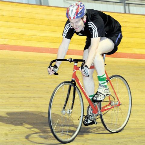 NEED FOR SPEED: Will gets to grips with the velodrome and looks the part as track cyclist
