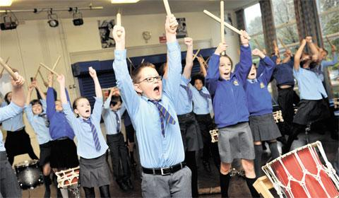 ENTHUSIASTIC: Pupils from Marshfield Primary School, Castleton, playing their Japanese drums