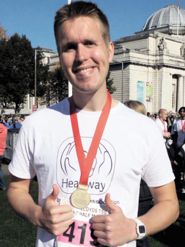 PROUD MOMENT: Nathan Laing after completing the Cardiff Half Marathon