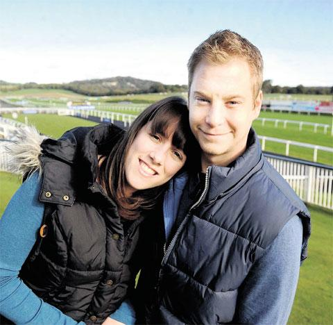 AT THE WINNING POST: Carys Brimble and James Coleman at Chepstow Racecourse
