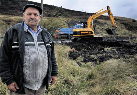 SHOCKED: Ray Williams in the hills around Varteg where he found a collapsed mine shaft