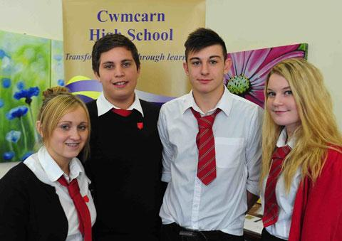 BACK AT SCHOOL: Cwmcarn High School sixth form pupils, from left; Paige Florence, Matthew Morse, Ben Jones and Bethan Morgan