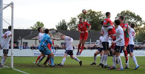RELIEF: County's Tony James heads in the equaliser. Picture: Sam Shingler