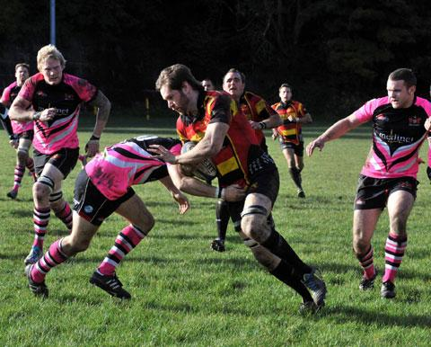 STRENGTH: Blackwood try scorer David Ford in action in Saturday's victory over Pontypool