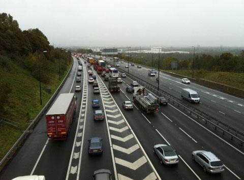 Queueing traffic around Newport after M4 smash