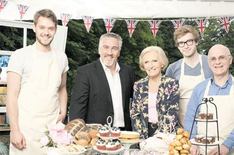 BACK TO BAKING: Winner John Whaite, left, with presenters Paul Hollywood and Mary Berry and fellow contestants James Morton and Brendan Lynch