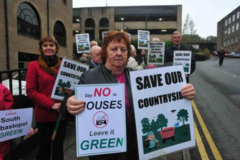 PROTEST: Members of Friends of the Earth Cymru protest outside the council offices in Pontypool