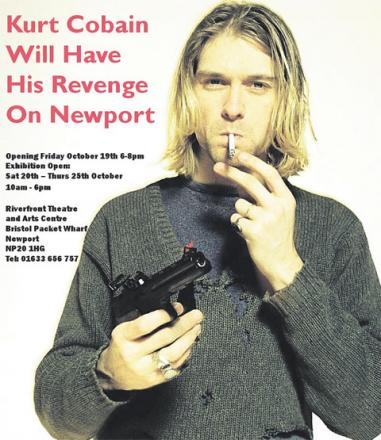 CONTROVERSIAL: A poster for the artwork, featuring Kurt Cobain
