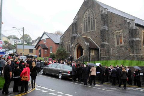 FAREWELL: Mourners gather at St Gabriel's Church, Old Cwmbran today