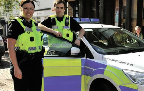 ON PATROL: Ceri Carlyon and her colleague keep an eye on the streets of Abergavenny