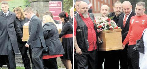 JOINED IN GRIEF: The coffins of Kayleigh and her daughter Kimberley and grandmother Kim are carried by pallbearers