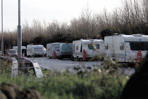 Gypsies set up camp in Ringland, Newport