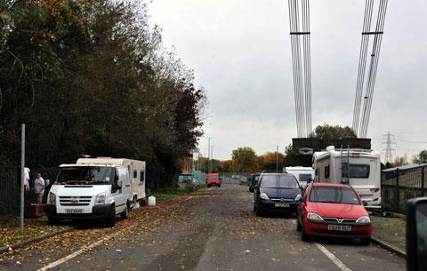 Gipsies set up camp near Newport's Transporter Bridge