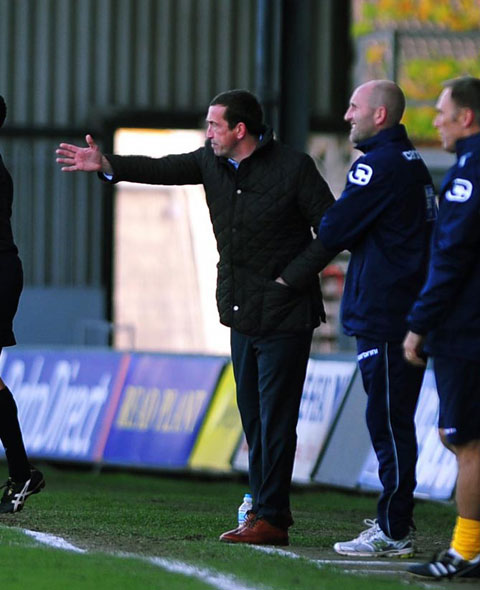 BUSY DAY: County boss Justin Edinburgh and director of football Tim Harris spent all day chasing targets