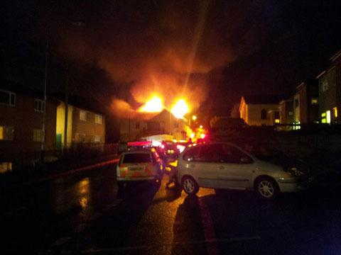 South Wales Argus: Fire crews are tackling a blaze at Pulse Fitness, Abersychan. Image: Barri Weaving