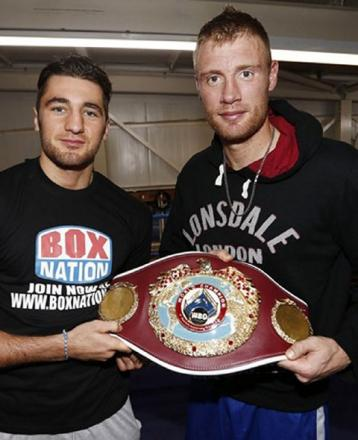 MUTUAL RESPECT: Gwent world champion Nathan Cleverly with England cricket legend and new pro boxer Freddie Flintoff. Picture courtesy of frankwarren.com