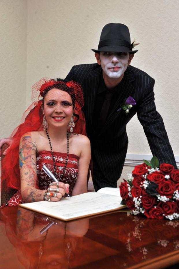 South Wales Argus: The groom, Michael Jenkins, known as Jinx and Catherine Page, known as Cat