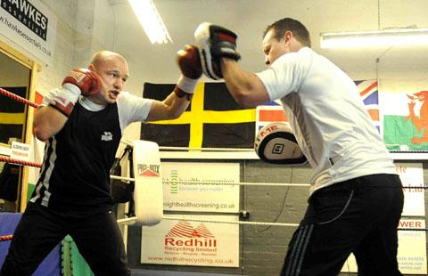 HARD AT IT: Gavin Rees in training with Gary Lockett