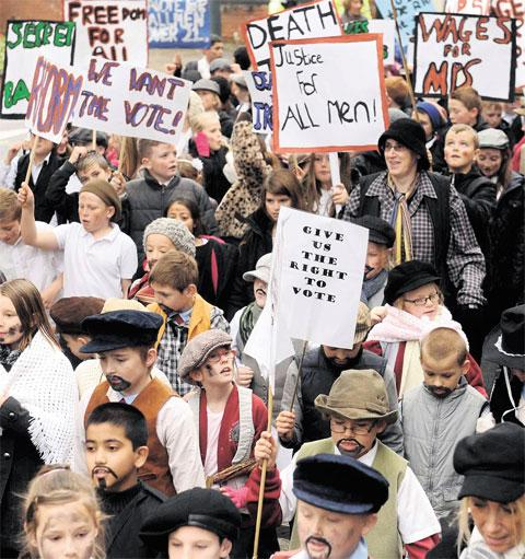 ON THE MARCH: Schoolchildren dressed up to commemorate the Chartist Movement yesterday with a march from Newport Cathedral to the Westgate Hotel in the city