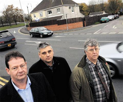 FEARS: Allt-yr-yn ward members Matthew Evans, David Fouweather and Charles Ferris at the blind junction linking Brickyard Lane with the busy High Cross roundabout junction