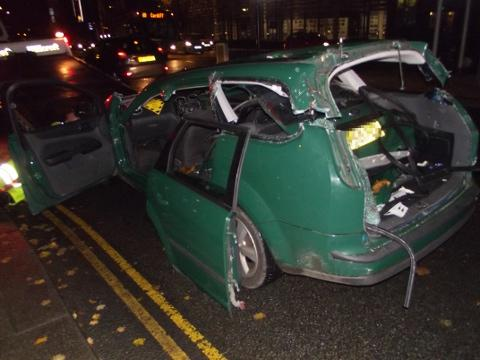 COLLISION: One of the cars involved in this afternoon's crash on Usk Way, Newport