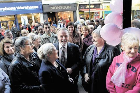 WALES' BIGGEST: Sir Terry Matthews at the opening of the St Anne's Hospice shop in Commercial Street, Newport