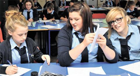 NEW HOME: Cwmcarn high School pupils enjoy their first day in the old Ebbw Vale Campus
