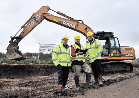 WORK UNDER WAY: Left to right, highway and waste manager Glynn Edmunds, Councillor Bob Greenland and area engineer Andrew Welsh
