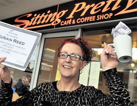 'TERROR': Cwmbran cafe owner Susan Reed completed a skydive in aid of Noah's Ark Appeal