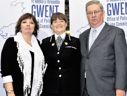 AFTER ELECTION: Ian Johnston, Gwent's police and crime commissioner, with his wife Janet (far left) and the chief constable of Gwent Police, Carmel Napier