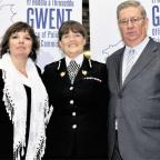 South Wales Argus: AFTER ELECTION: Ian Johnston, Gwent's police and crime commissioner, with his wife Janet (far left) and the chief constable of Gwent Police, Carmel Napier