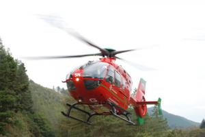 Injured biker airlifted to hospital
