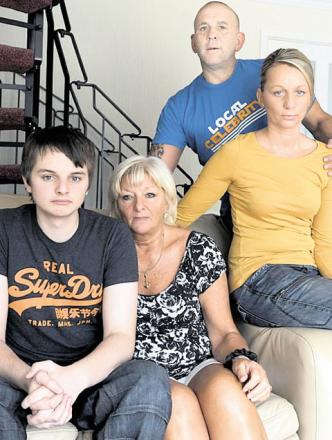 ASKED FOR HELP: Jack Williams, far left, with his dad, Darren's family. Back, Darren's sister Rachael with her partner Wayne Davies and front Jack's grandmother and Darren's mum Barbara Smillie