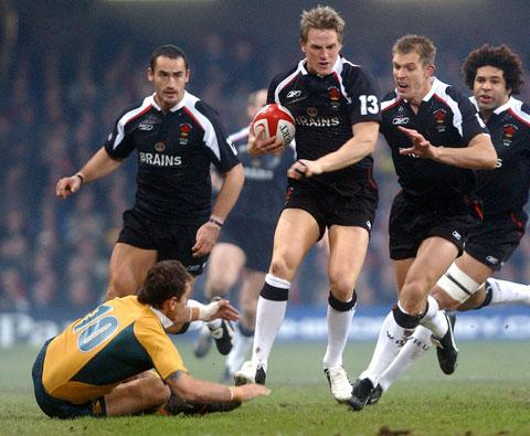 SPECIAL DAY: Matthew J Watkins in action when Wales last beat Australia in 2005