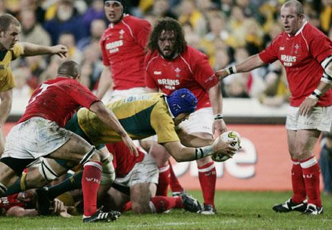 South Wales Argus: TRY TIME: Australia's Nathan Sharpe scores against Wales in Sydney in 2007