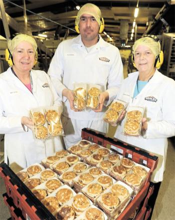 DONATION: Braces staff Sue Jones, Tristan Maggs and Barbara Davies with some of the Welsh cakes that Braces will be giving to the Argus Jesus Cares hamper campaign