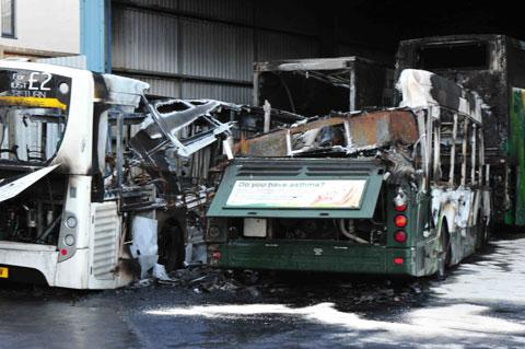 ARSON: Vehicles destroyed at Newport Bus Depot