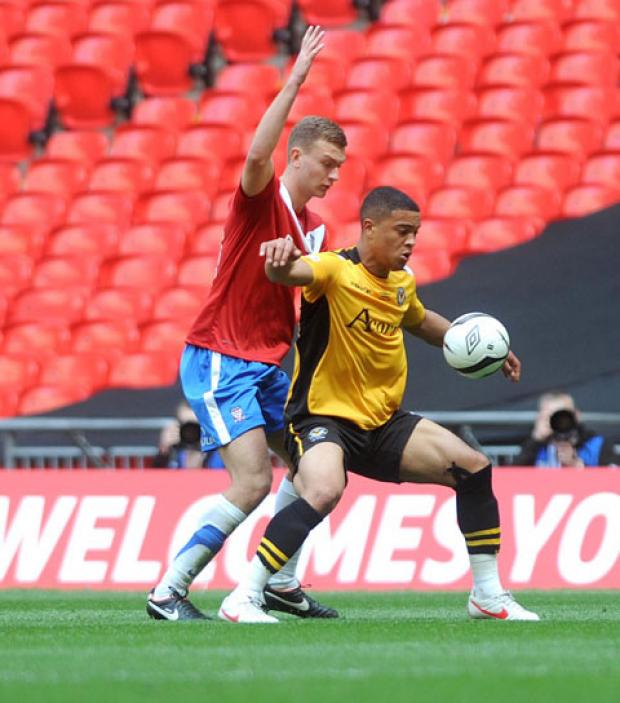 Nat Jarvis in his final County appearance in the FA Trophy final at Wembley