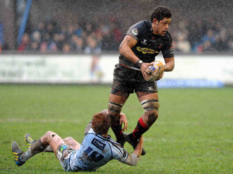MAN OF THE MATCH: Dragons ace Toby Faletau in action against the Blues today