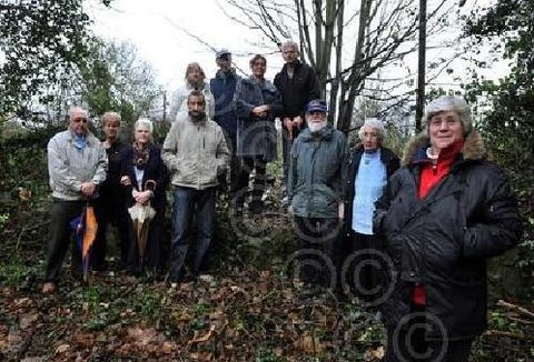 FEELINGS RUNNING HIGH: Some of the residents who stopped a hedgerow being chopped down