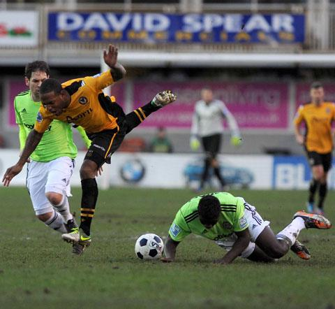 FOUL: County's Aaron O'Connor is brought down against Forest Green today