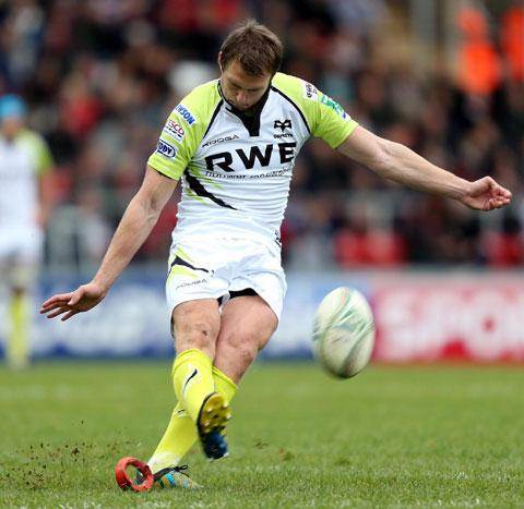 BOOT-IFUL: Ospreys fly-half Dan Biggar shines when kicking out of hand as well as from the tee